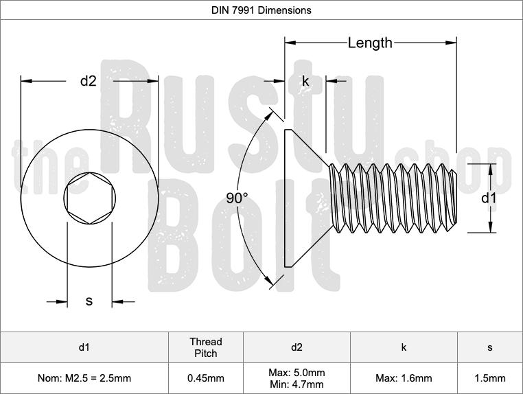 10.9 Steel Socket Flat Head Screws Details about  /M2.5 x 12mm Black Oxide